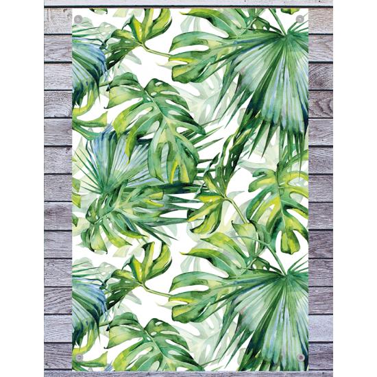 Tuindoek - Tuintekst Tropische bladeren - tropical leaves