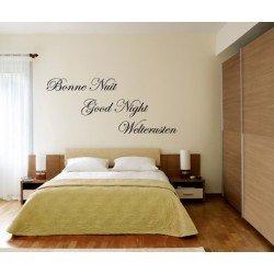 Muursticker - Muurtekst Bonne Nuit Good Night