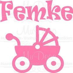 Geboortesticker Kinderwagen onder