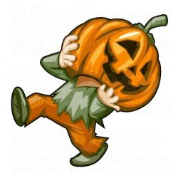 Muursticker - Halloween sticker - Pumpkin / Pompoen Zombie