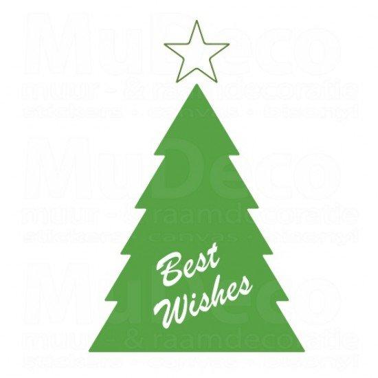 Muursticker - Kerstboom Best Wishes
