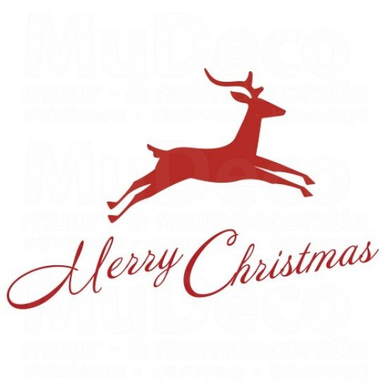 Muursticker - Rendier Merry Christmas