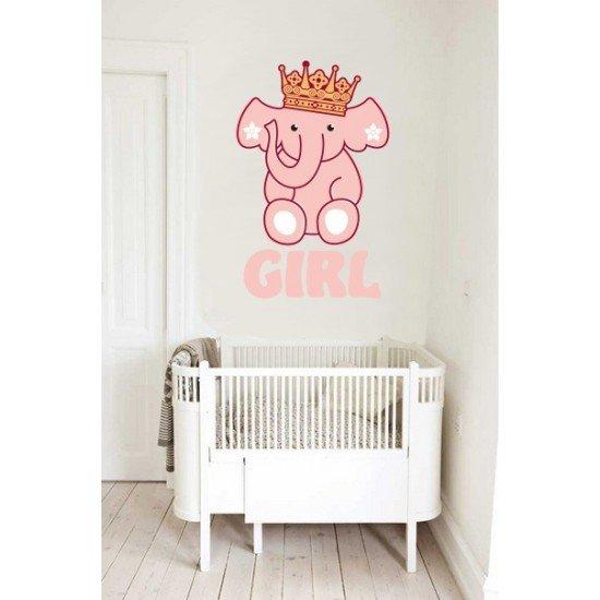 Geboortesticker - Interieursticker Olifant Girl