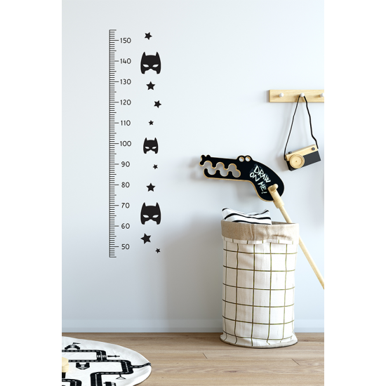 Muursticker - Interieursticker Groeimeter superheld