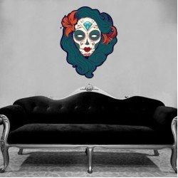 Muursticker - Interieursticker Sugar Skull women one