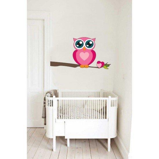 Muursticker - Interieursticker Uil roze