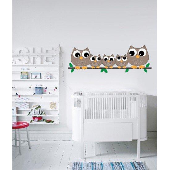 Muursticker - Interieursticker Uilen familie