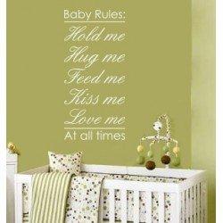 Muursticker - Muurtekst Baby rules