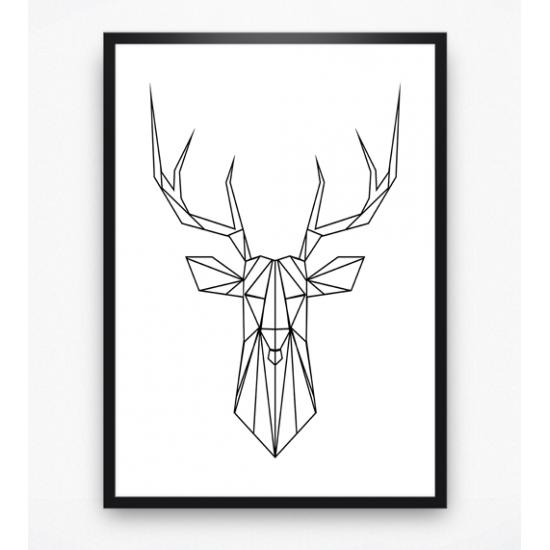 Poster - Hertenkop geometrisch
