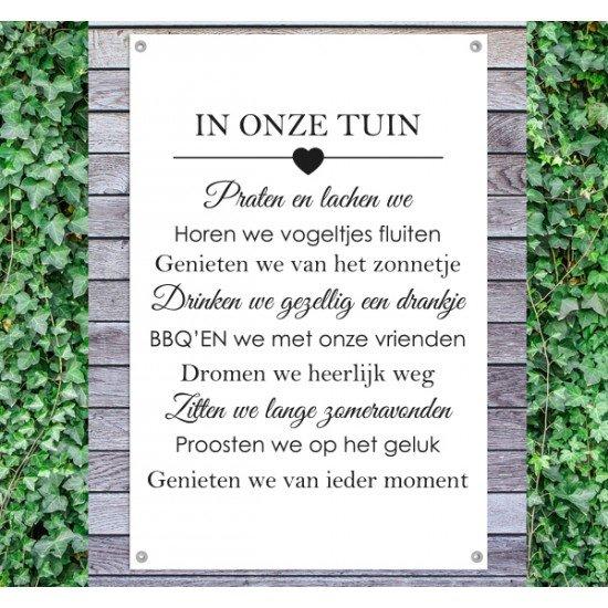 Tuindoek - Tuintekst Onze tuin