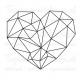 Muursticker - Hart geometrisch