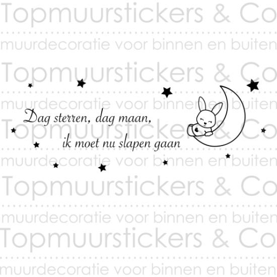 Muursticker - Konijntje Dag sterren Dag maan