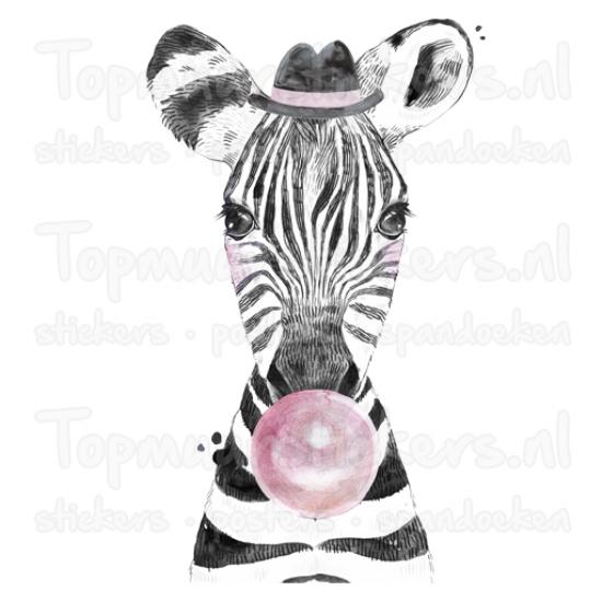 Muursticker - Bubblegum Zebra
