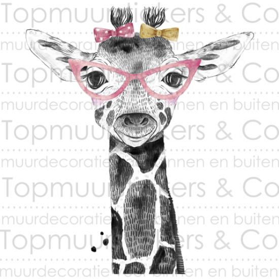 Muursticker - Giraf met bril