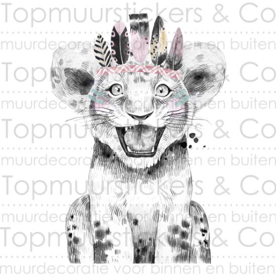 Muursticker - Leeuw met indianentooi