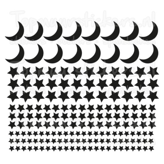 Muursticker - Maan en sterren set