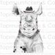 Muursticker - Neushoorn met hoedje