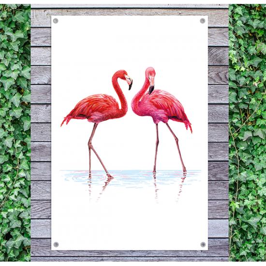 Tuindoek - Tuinposter Flamingo's