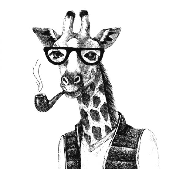 Textielposter Hipster Giraffe