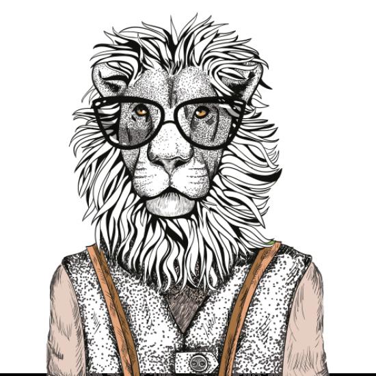 Textielposter Hipster Leeuw