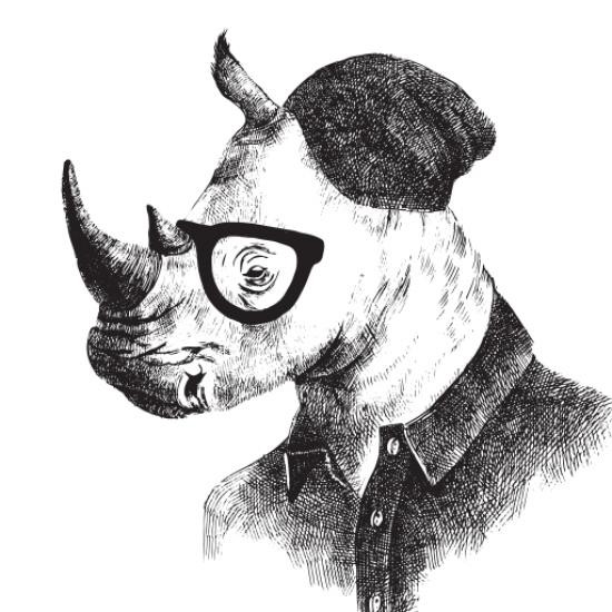 Textielposter Hipster Neushoorn