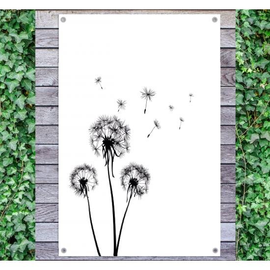 Tuindoek - Tuinposter Paardenbloem zwart wit
