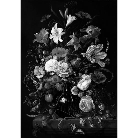 Textielposter Vaas met bloemen zwart wit