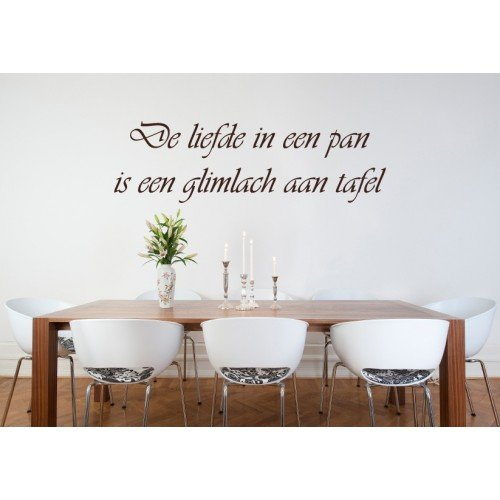 muursticker muurtekst liefde in een pan top