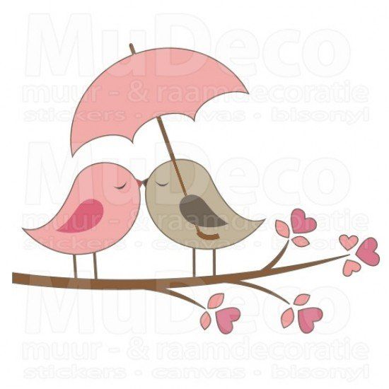 Muursticker - Interieursticker Love Birds