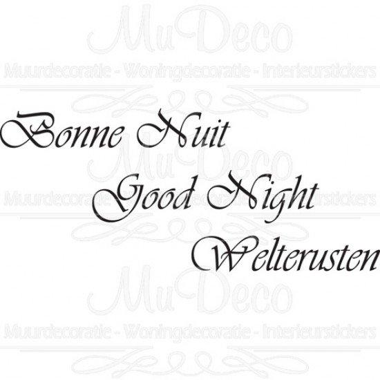 Muursticker - Muurtekst Bonne Nuit