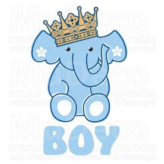 Geboortesticker - Interieursticker Olifant Boy