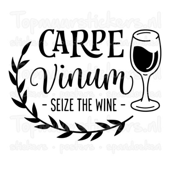 Muursticker - Muurtekst Carpe Vinum