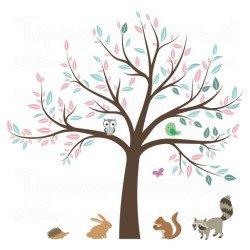 Muursticker - Interieursticker Boom met dieren v 1