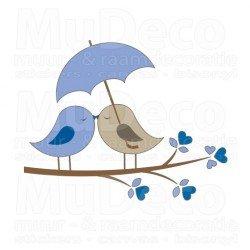 Muursticker - Interieursticker Love Birds Blue