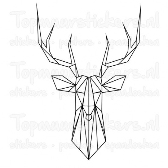 Muursticker - Interieursticker Hertenkop geometrisch