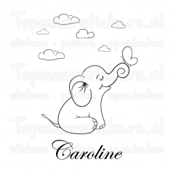Geboortesticker Olifantje wolken naam