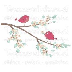 Muursticker - Interieursticker Vogels op tak