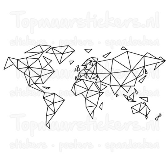 Muursticker - Interieursticker Wereldkaart geometrisch lijnen