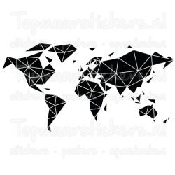 Muursticker - Interieursticker Wereldkaart geometrisch vlakken