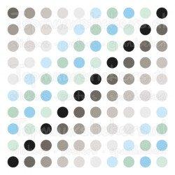 Muursticker - Interieursticker Gekleurde stippen chrome blauw