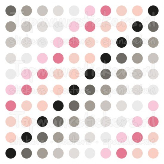 Muursticker - Interieursticker Gekleurde stippen chrome roze