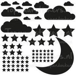Muursticker - Interieursticker Maan wolken sterren