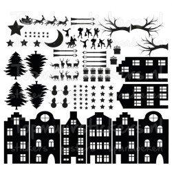 Statische raamsticker - Sinterklaas / Kerstmis v2