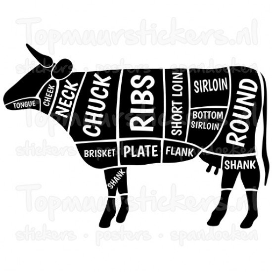 Muursticker - Muurtekst Slagers koe