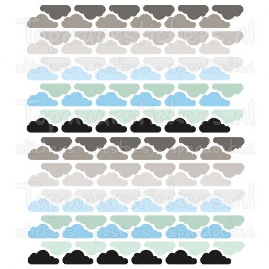 Muursticker - Interieursticker Wolken clouds chrome blauw