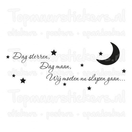 Muursticker - Muurtekst Dag sterren, dag maan 2