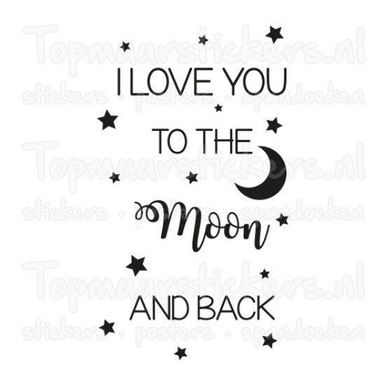 Muursticker - Muurtekst To the moon and back