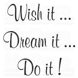 Muursticker - Muurtekst  Wish Dream Do It !