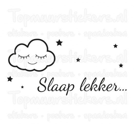 muursticker - muurtekst wolkje slaap lekker