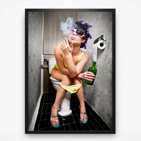 Poster - Lady on toilet smoking
